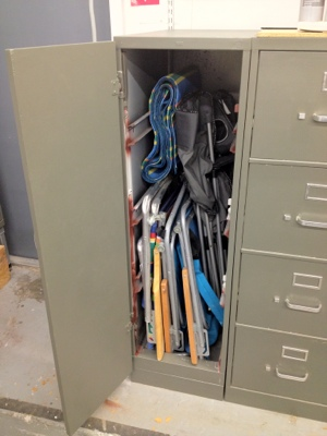 File cabinet converted to vertical locker