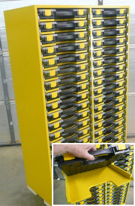 pullout parts box storage