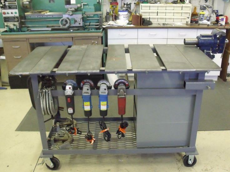 Complete diy welding table and cart ideas 50 designs every welder needs a bevy of angle grinders handy i like hanging them right on the cart solutioingenieria Gallery