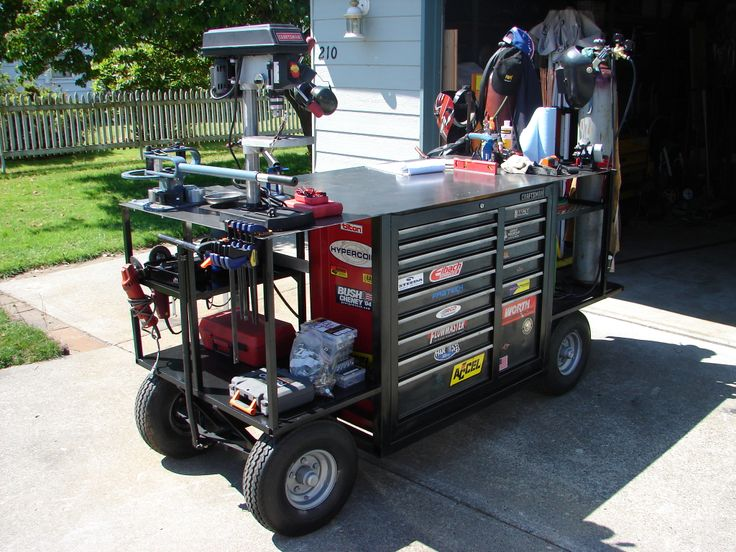 Practically an entire Fab Workshop on a cart. I'm loving the big wheels as I know rolling a heavy cart over the 3/4″ step to my garage would be so much ...