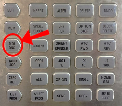 Press the MDI key on your CNC control panel to go to MDI mode.