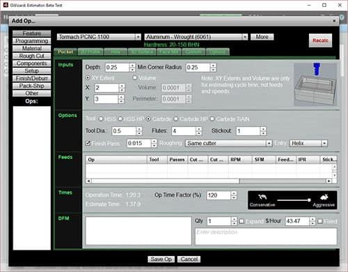 cnc simulator quote estimator